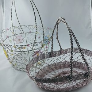 Two Spring Metal Wire Basket